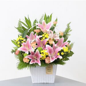 Pink lilies and mixed flowers